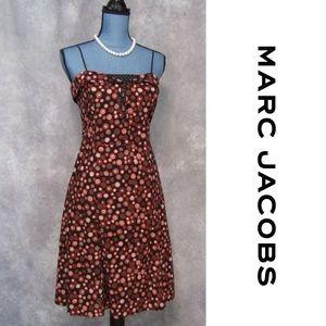 Marc Jacobs Circle Dot Dress Sz 8 Red Black Polka